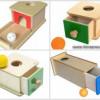Монтессори-материал — коробочки постоянства предметов. С 8-10 месяцев.